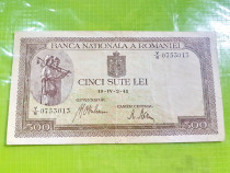 B290-I-Bancnota Romania regalista 500 lei 1941 circulata.
