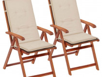 Perne scaun de grădină, 2 buc, crem, 43181