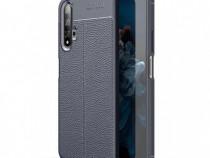 Huawei Nova 5T Husa Silicon Neagra Autofocus Imitatie Piele