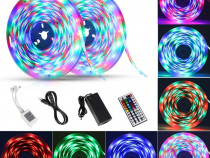 Benzi LED 10m USB 2x5m, ShineLine RGB SMD 5050 telecomanda