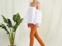 Camasa alba stil top din poplin Zara