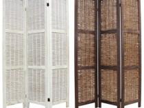 Paravan lemn despărțitor pliant alb sau maro – 3 panouri