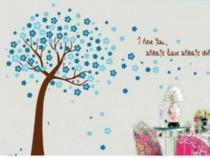 Sticker Decorativ, Copacel Cu Flori Albastre 150 Cm, 107STK