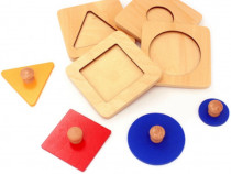 Set 4 puzzle uri lemn Montessori cu maner & forme geometrice