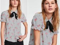 Zara, Camasa noua, cu print buline si pasari flamingo
