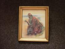 3 tablouri vintage, cu geam si rama aurita