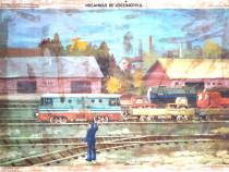 Afis didactic vechi comunist - Mecanicul de Locomotiva