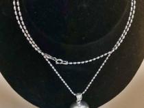 Set argint vintage: cercei bile + lant cu pandantiv bila
