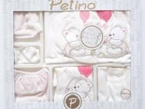 Set cadou nou nascut/bebelus, 10 piese, 0-3 luni, alb/roz