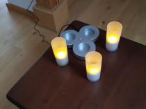 Set candele LED galben cu licarire stica incarcabile Philips