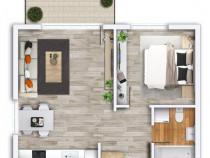 Apartament 2 camere nou Prima Nufarul finisat