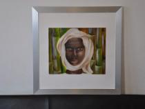 Tablou pictat manual, portret rama aluminiu, 45x45 cm