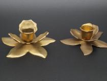 Set 2 sfesnice forma floare, suport lumanate, vechi, vintage
