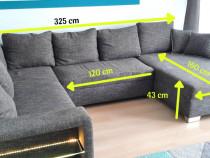 Canapea pe colț, extensibilă, material textil gri, cu spați