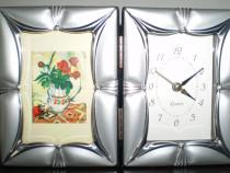 Ceas rama foto argint satinat handmade - certificat autentic