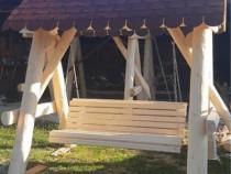 Leagan rustic din lemn masiv