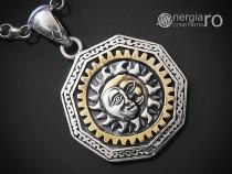 Pandant Soare Luna Ochiul Providentei Triunghi ARGINT PND990