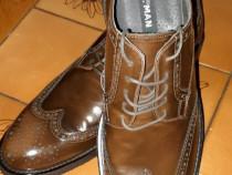 Pantofi barbatesti noi, piele naturala