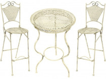 Set alb de bar cu masa si doua scaune din fier forjat antik