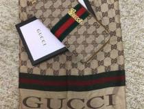 Set Gucci (portofel si esarfa) new model logo auriu