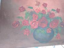 Tablou vechi pictura pe panza , semnat pictor cunoscut .