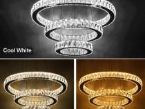 Lustra cristal K9 LED cu 3 segmente circulare mari Dipai 905