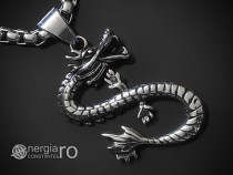 Medalion Colier Pandantiv Dragon Protector INOX - cod PND266