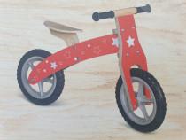Bicicleta echilibru fara pedale,din lemn,rosie,2-4 ani,noua
