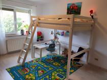 Pat etajat lemn copii pin alb 140 x 200 + saltea Superorto