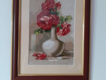 Goblen vaza cu flori inramat