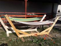 Suport hamac rustic din lemn masiv