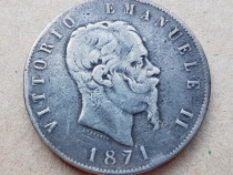 C826-Moneda veche Regele Emanuel 2 Italia 1871 ML 5 B bronz.