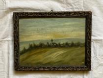 Tablou pictura inramat cu rama din lemn pictat acuarela