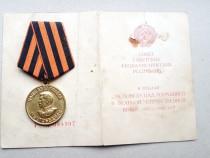 C905-I-Medalia URSS Stalin soldat roman 1941-1945 cu brevet.