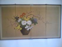 Paravan Japonez pictura pe Matase Aurie