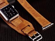 Curea 3in1 iCarer piele naturala Apple watch 42mm maro tabac