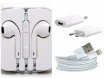 Pachet accesorii 3 in 1 casti adaptor priza cablu usb iphone
