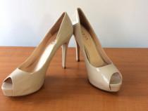 Pantofi eleganti peep-toe,Guess originale,nude,din piele