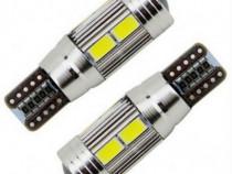 Bec led T10 194 W5W 10 led-uri pozitie cu lupa CanBus