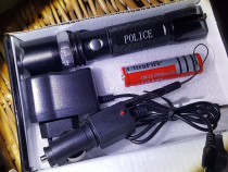 Lanterna police+baterie 5800mah Noua,Led Cree Metalica
