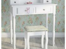 SEA7 - Masuta alba de toaleta cu Scaun, cosmetica, masa