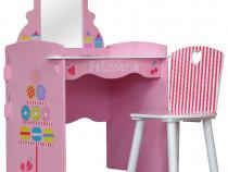 SERC102 - Set masuta, scaunel, oglinda - roz, MDF masa
