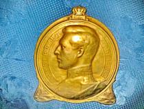 6540-Aplica antica bronz Albert Rege Belgia 1910 semnata...