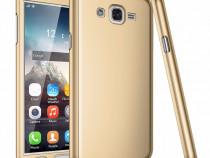 Samsung J3 2016 Husa 360 Fata + Spate + Folie Gold Black