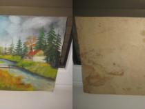 Peisaj vechi de poienita de pictor amator cu cabana, parau.