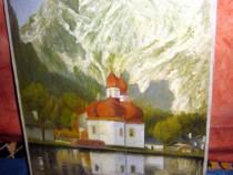 Tablou H. Teply peisaj munte localitate biserica pe lac.
