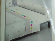 Set: cearceaf saltea, cearceaf pat si fata perina lunga alb