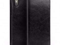 Husa piele Qialino, iPhone X, tip carte cu buzunare, negru