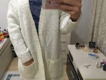 Pulovar alb Jacqueline de Yong, superb, nou, M, cu buzunare
