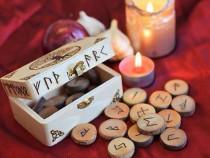 Set rune lemn +gratis placa divinatie